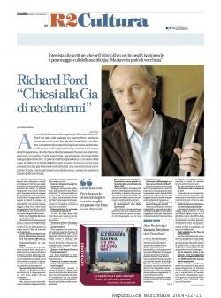 """RICHARD FORD: """"CHIESI ALLA CIA DI RECLUTARMI"""""""