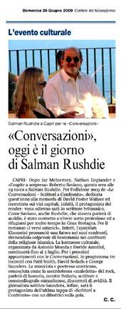 """""""Conversazioni"""" oggi è il giorno di Salman Rushdie"""