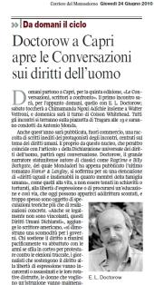 Doctorow a Capri apre le Conversazioni sui diritti dell'uomo