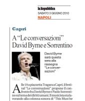 """A """" Le Conversazioni"""" David Byrne e Sorrentino"""
