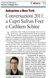 Conversazioni 2011: a Capri Safran Foer e Cathleen Schine