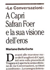 A Capri Safran Foer e la sua visone dell'eros