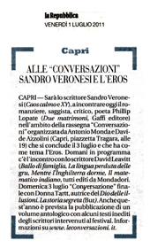 """Alle """"Conversazioni"""" Sandro Veronesi e l'Eros"""