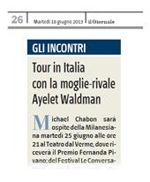 Tour in Italia con la moglie-rivale Ayelet Waldman